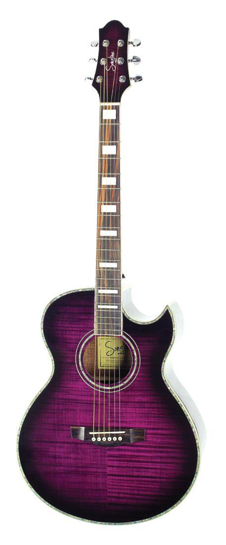 Songline Sl23 Electric Tiger Cutaway Transparent Purple Acoustic Guitar Guitar Acoustic Guitar Acoustic Guitar Case