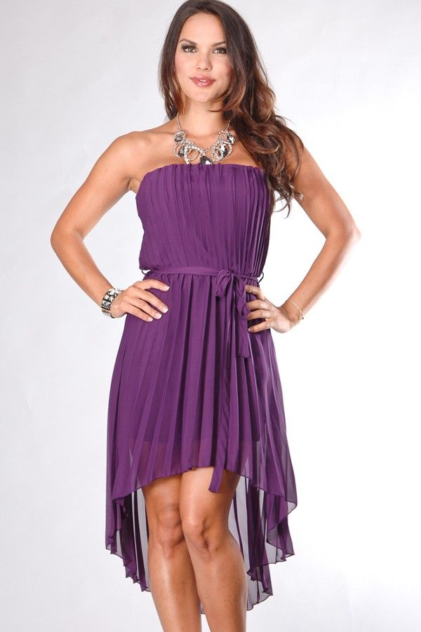 PLUM STRAPLESS PLEATED HIGH LOW ASYMMETRICAL CASUAL DRESS $26.99 ...