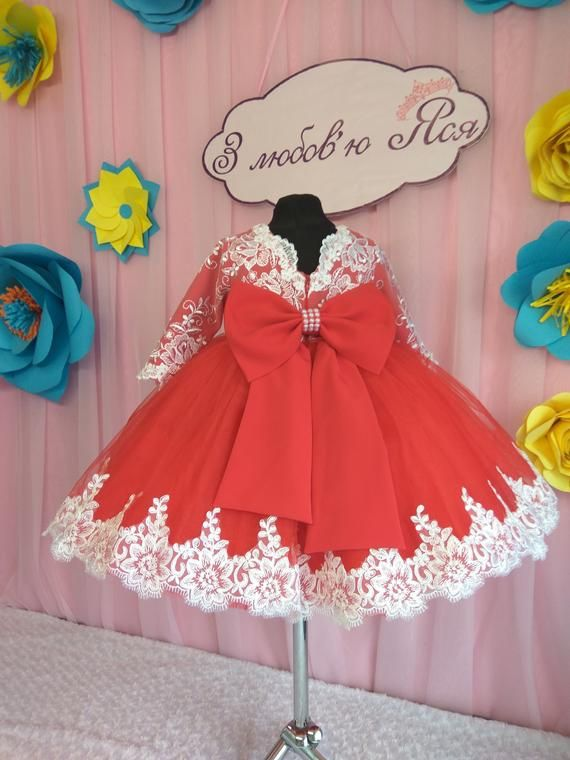 7ca1f9c284119 Red Flower girl Dress Wedding Party Dress for girl, first birthday ...