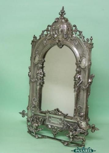 Antique Italian Silver Dressing Table Mirror Easel  1850