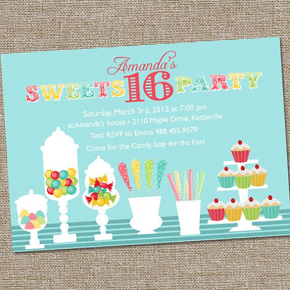 Sweets 16 Birthday Party Invitation Candy Invitation Sweet 16