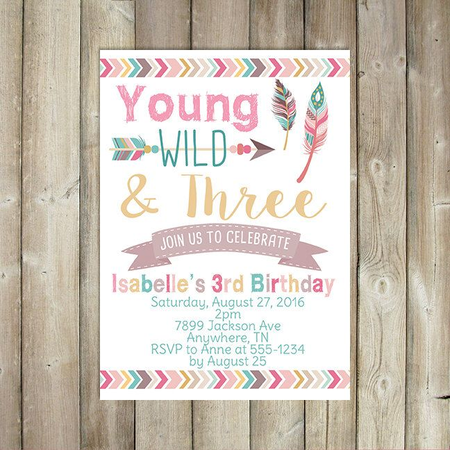 Young Wild and Three Birthday Invitation Third Birthday Invitation