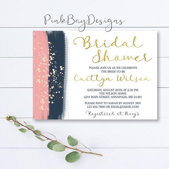 navy and blush bridal shower invitation brush stroke bridal shower invite watercolor shower invite bridal shower invite watercolor