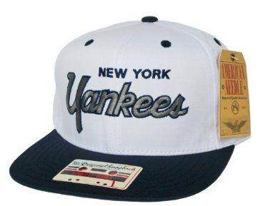 NEW YORK YANKEES 2 Tone Script Retro Snapback Hat - MLB Cap - Original TAG  - 2 Tone White Navy  Amazon.co.uk  Sports   Outdoors 2b31703345e2