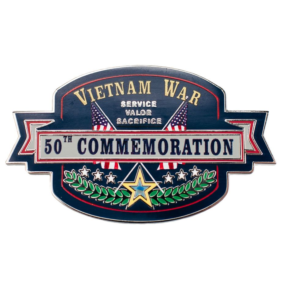 The design on this Item was created as part of the 50th Anniversary of the Vietnam War. This item is part of a commemorative effort to educate the public on the lesser-known aspects of the war, thank and honor Vietnam veterans from all of the Armed Forces, and recognize the sacrifices made by the U.S. and her allies throughout the war. Show your support for our Vietnam Veterans with this Vietnam War 50th Commemoration Lapel Pin.