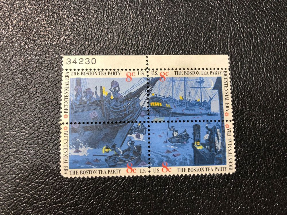 The Boston Tea Party Stamps Scott 1480 1483 8 Cent Block Of 4