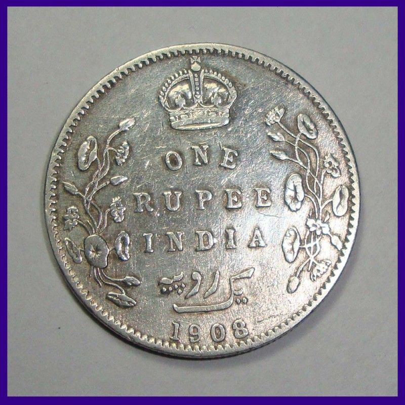 British India 1908 One Rupee Silver Coin Edward Vii King Sell Old Coins Coins Old Coins