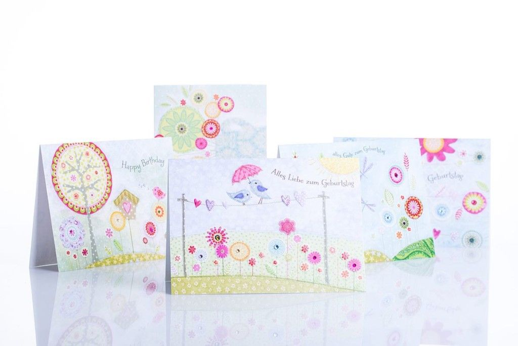 Geburtstagskarten mit Blumenaudruck / Birthday cards with a floral print | chic.mic | Paperworld 2016 | TOP FAIR Blog