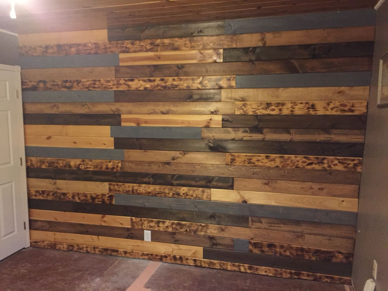Tongue And Groove Pine Stained Different Colors With Some