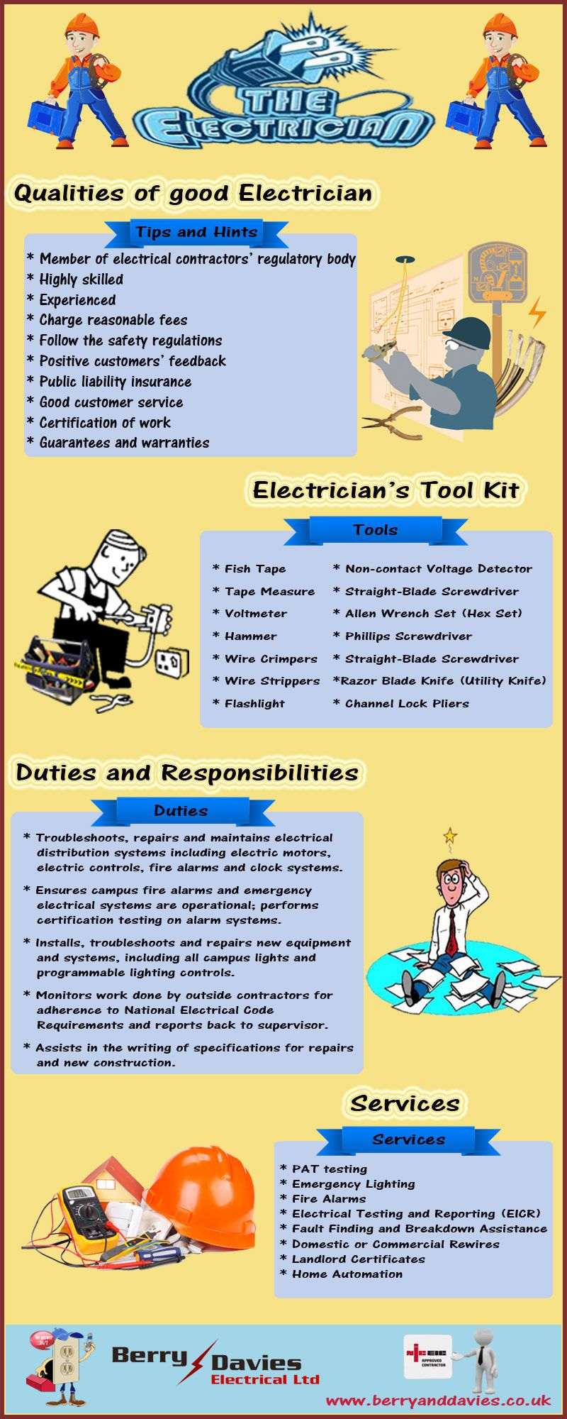 An electrician is a person who has special skills in