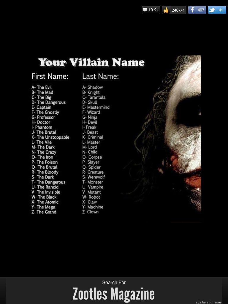I Am The Ghostly Creature Villain Names Name Generator Villain