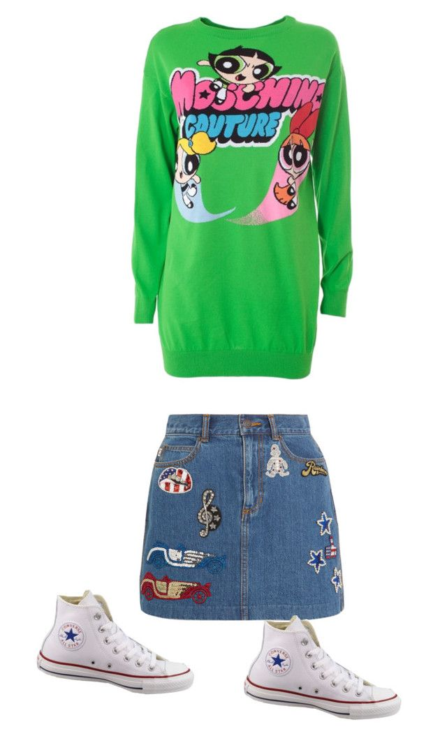 """""""Comfy cartoon style"""" by abbyshaelyon ❤ liked on Polyvore featuring Marc Jacobs, Moschino and Converse"""