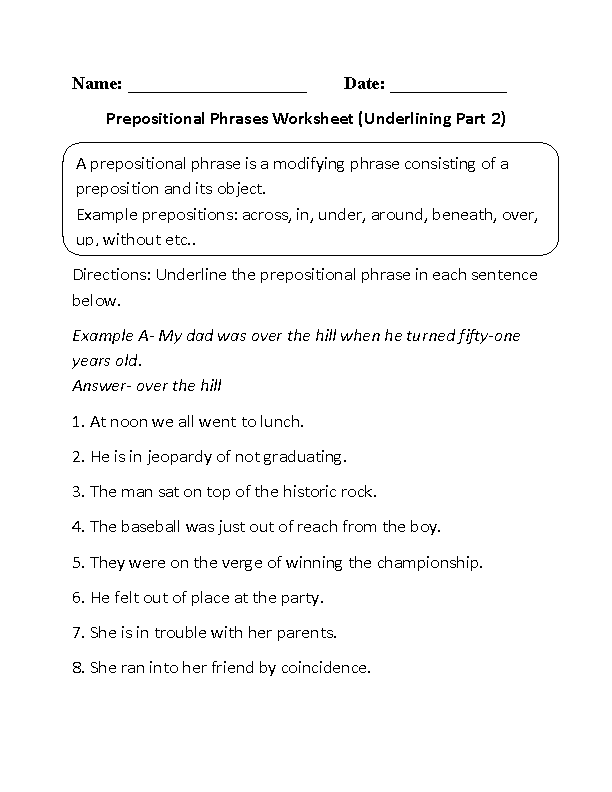 Underlining Prepositional Phrase Worksheets Part 2 | Language ...
