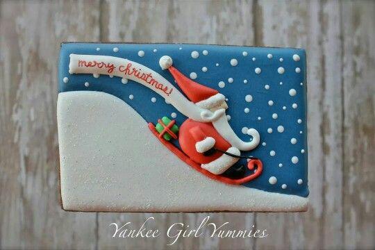 Yankee Girl Yummies:  Christmas - Santa sleighing downhill