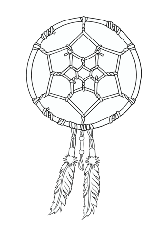 Native American Dreamcatcher coloring page from Native