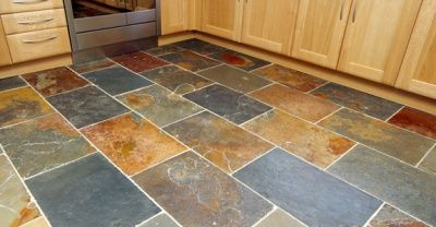 The Warm Tones Of This Multi Color Slate Flooring Compliment Well With Natural Wood Cabinetry
