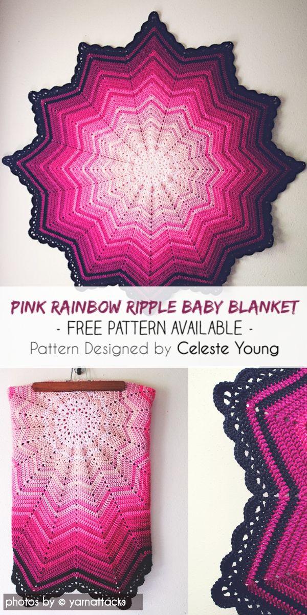 Pink Rainbow Ripple Baby Blanket Idea #babyblanket