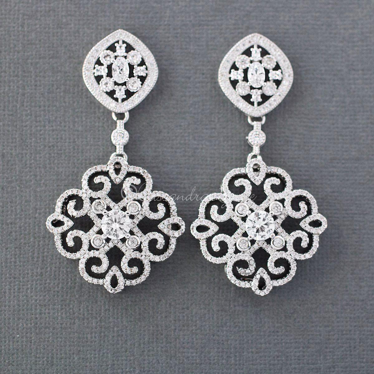 Bridal Earrings of CZ Filigree Medallions   jewels and ...