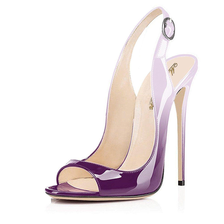 detailed look 55fdd d52c4 Modemoven Damen Peep Toe High Heels,Lack Stiletto Sandalen ...