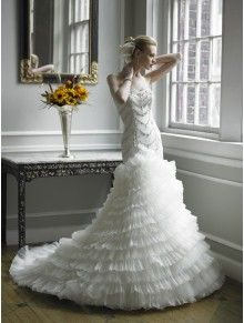 Dutchess Satin/Crystal Organza Mermaid Soft Sweetheart Wedding Dress (H1195)