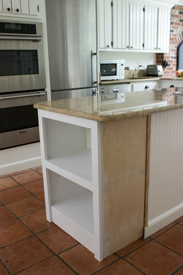 Our Kitchen Island With Microwave We Added A Built In Shelf Driven By Decor Diy Kitchen Island Microwave Shelf Kitchen Design