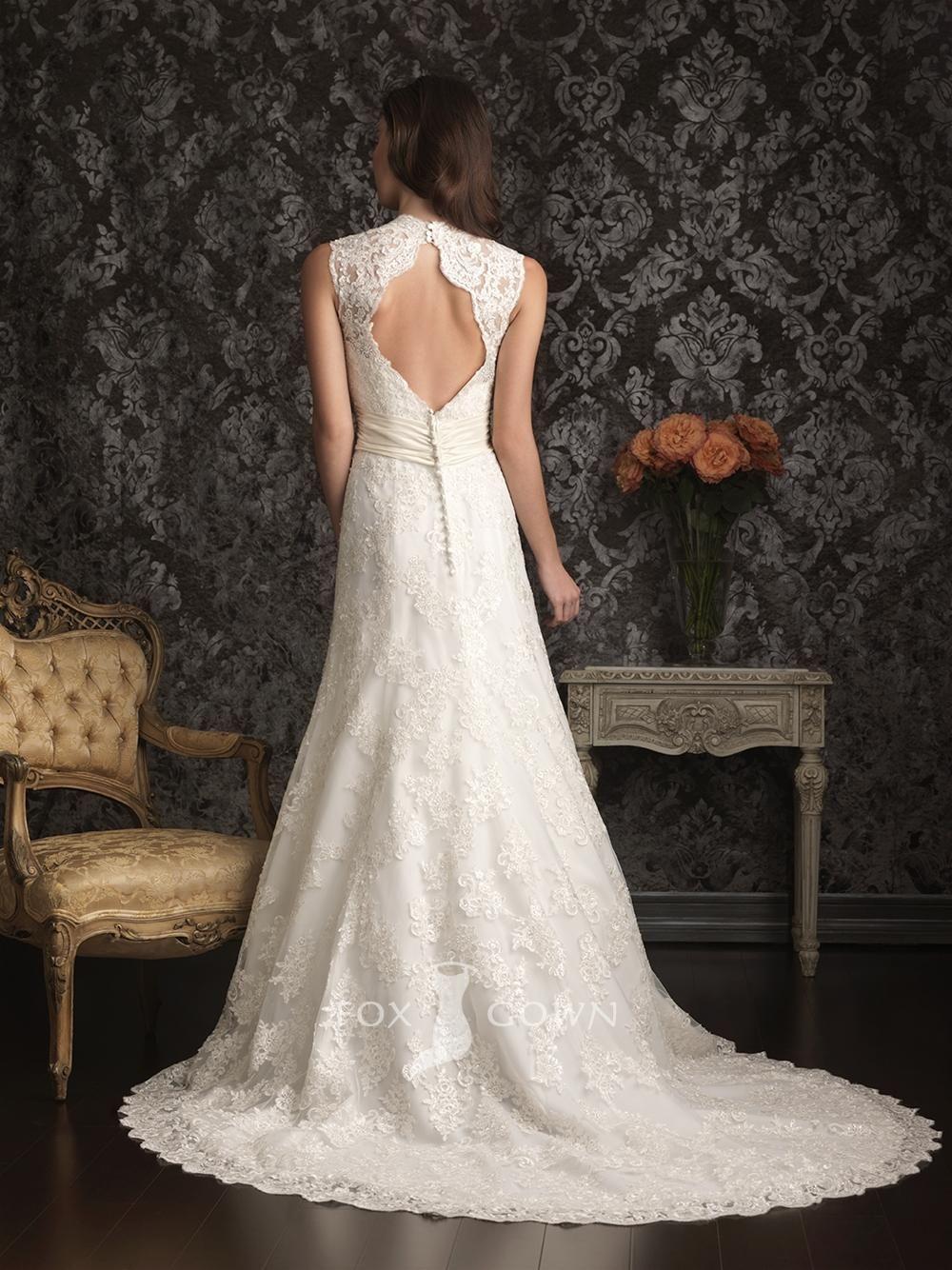 plain lace sleeveless a line scalloped v neck keyhole back wedding ...