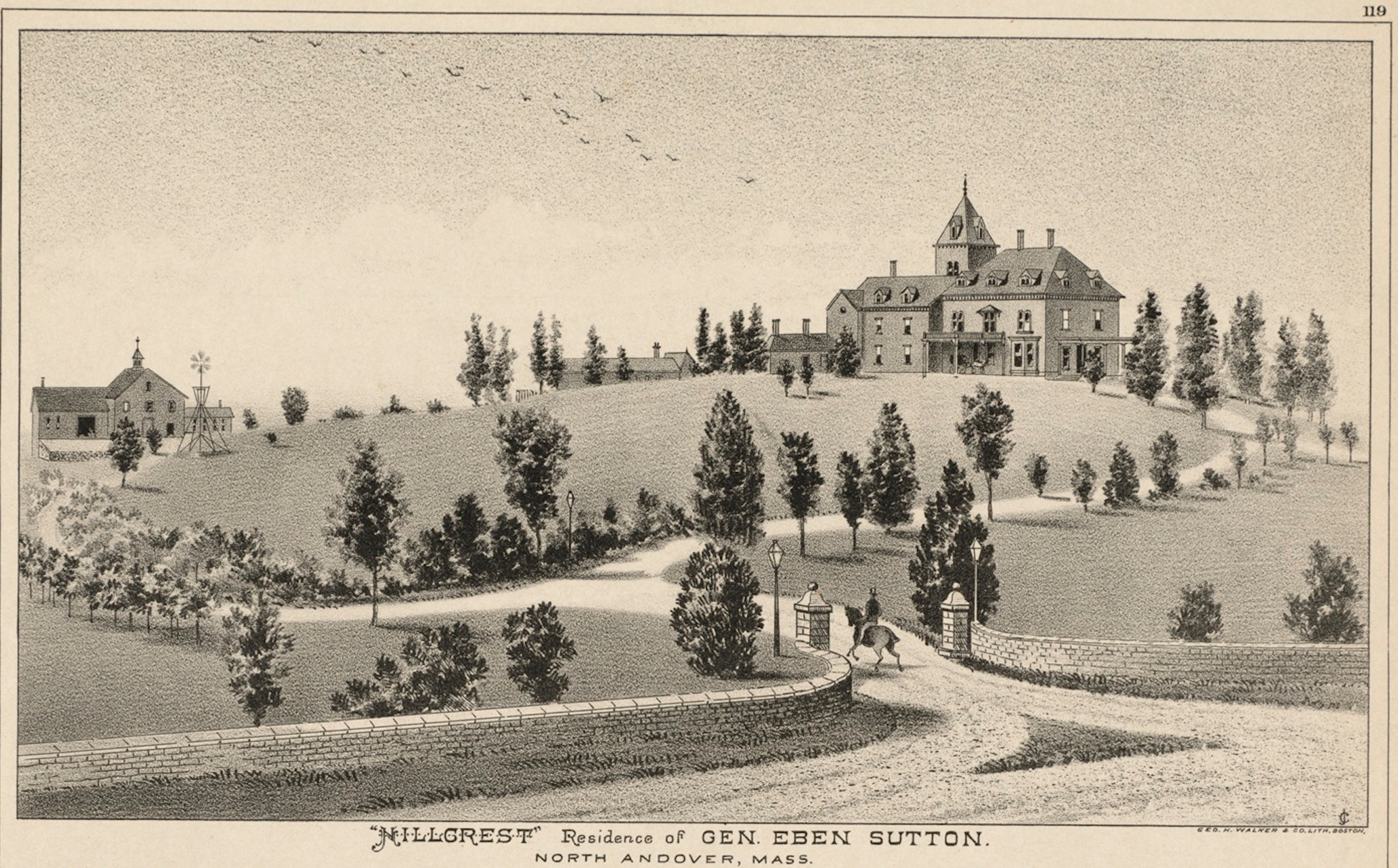 """Hillcrest"" Residence of Gen. Eben Sutton. North Andover, Mass., 1884."