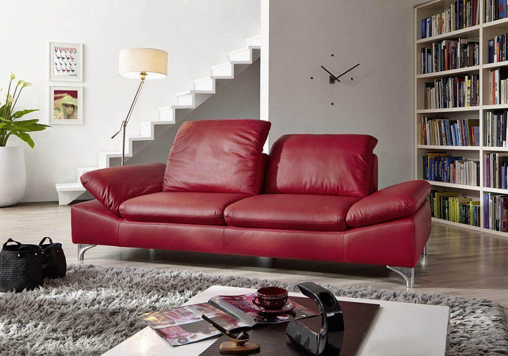 rotes ledersofa von ewald schilling m bel mit polsterm bel. Black Bedroom Furniture Sets. Home Design Ideas