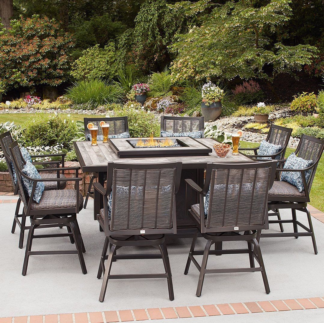 Redefining Your Happy Place Starts With Finding The Perfect Set For Your Space We Offer A Wide Variety Fire Pit Table Set Outdoor Dining Set Patio Dining Set Fire pit dining table set
