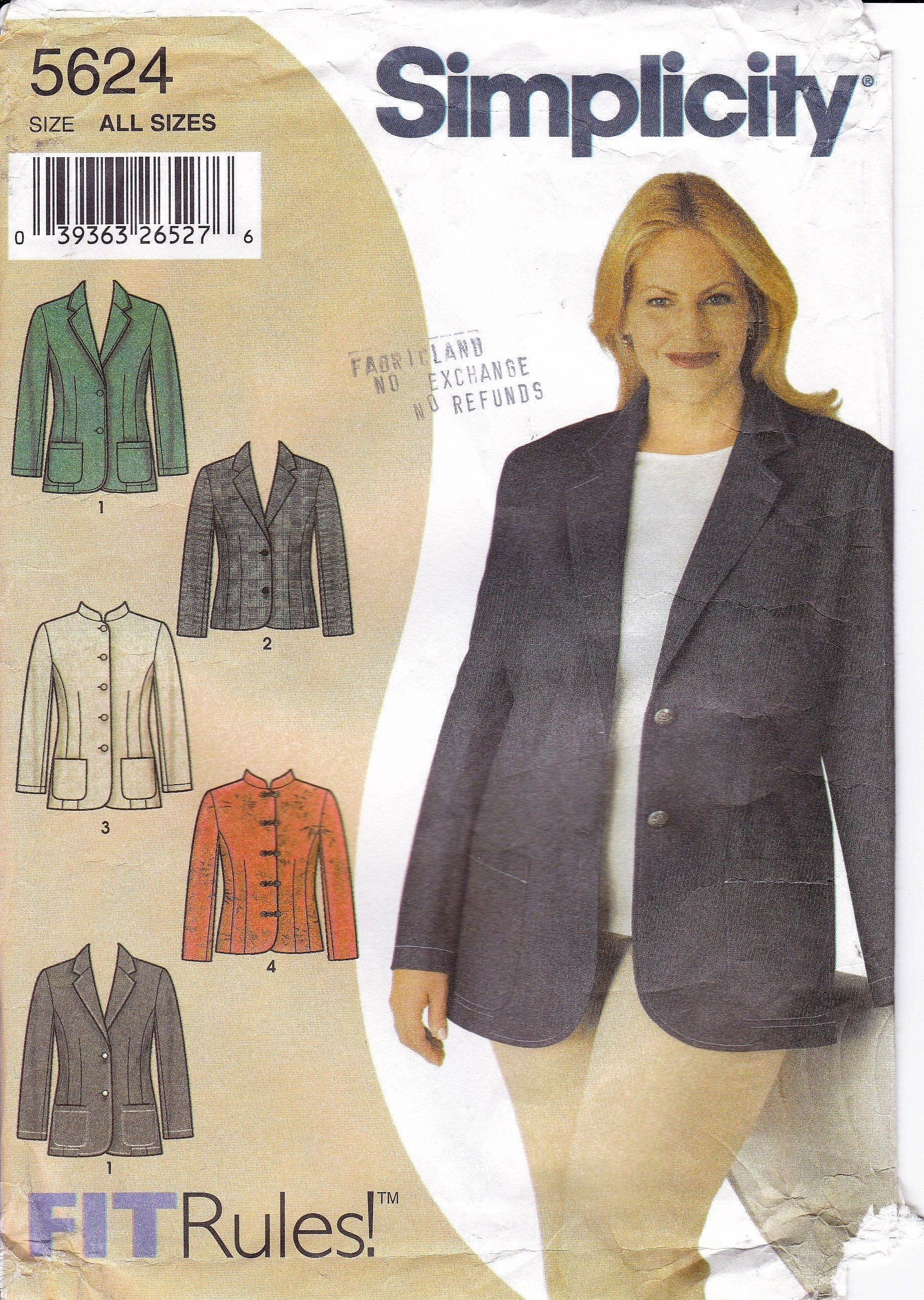 Plus Size 48 To 60 Inch Bust 4 Styles Of Jacket To Sew Notched