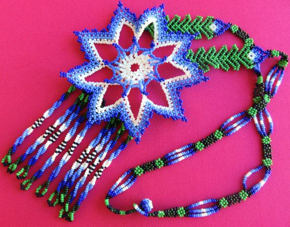 Mexican Huichol Beaded Blue and White Star Flower by Aramara