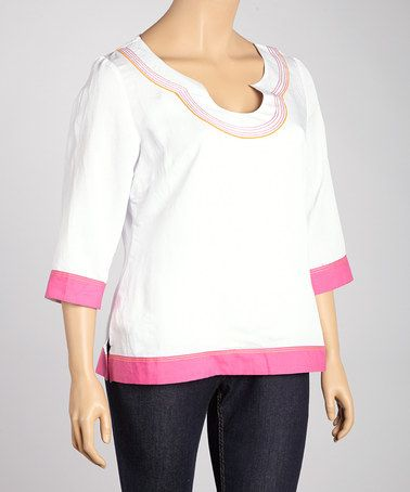 Look at this #zulilyfind! White & Pink Color Block Top - Plus #zulilyfinds