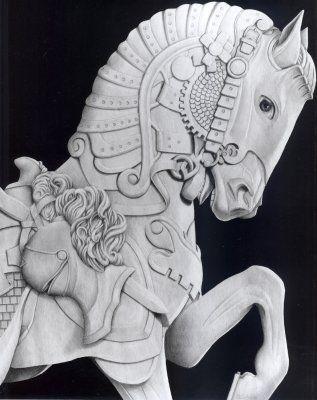Mal Luber-Carousel Horse. Drawings (Drawing, Graphite, Paper)