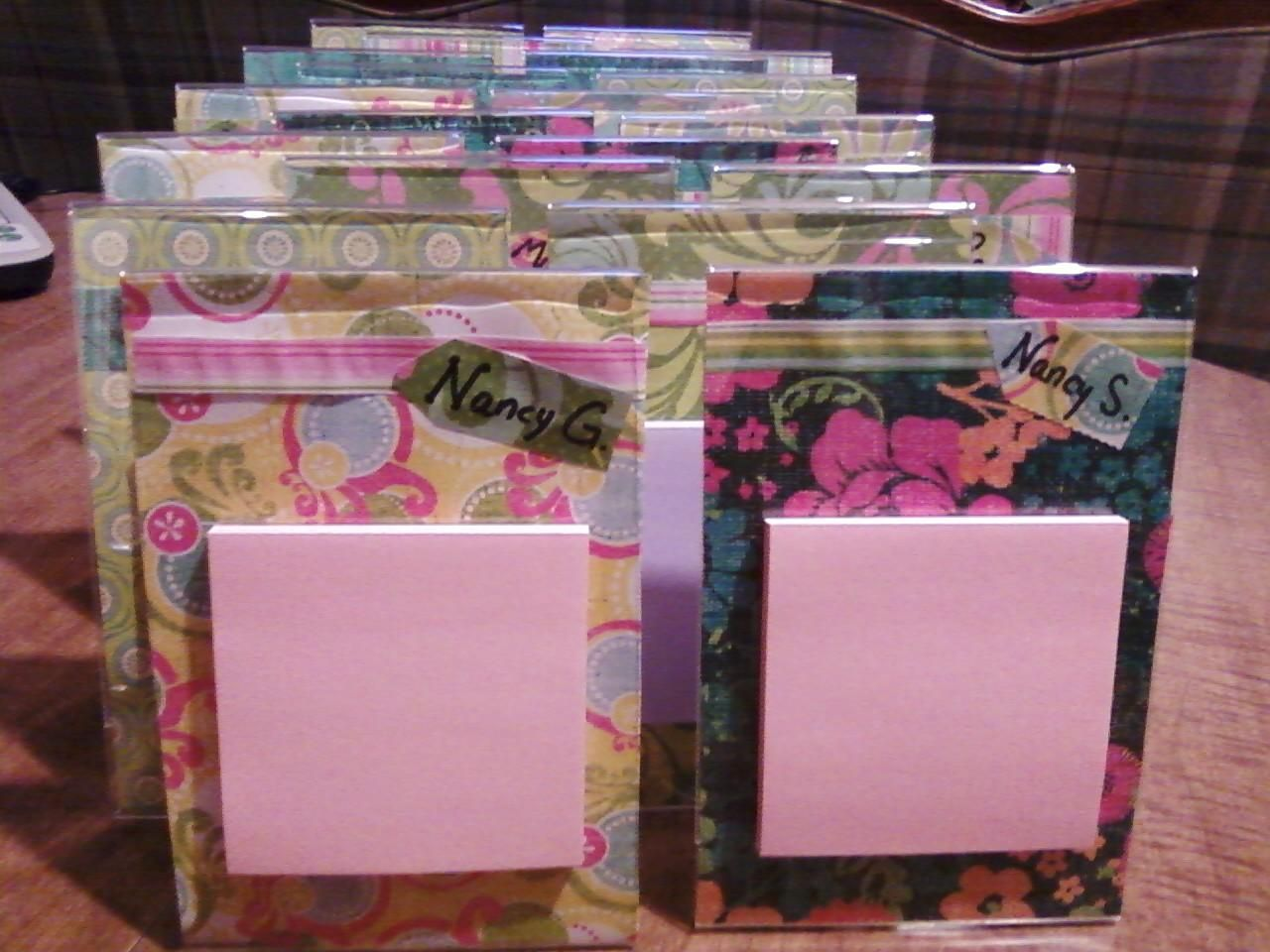 4x6 acrylic photo frames, scrapbook paper inside with co-workers ...