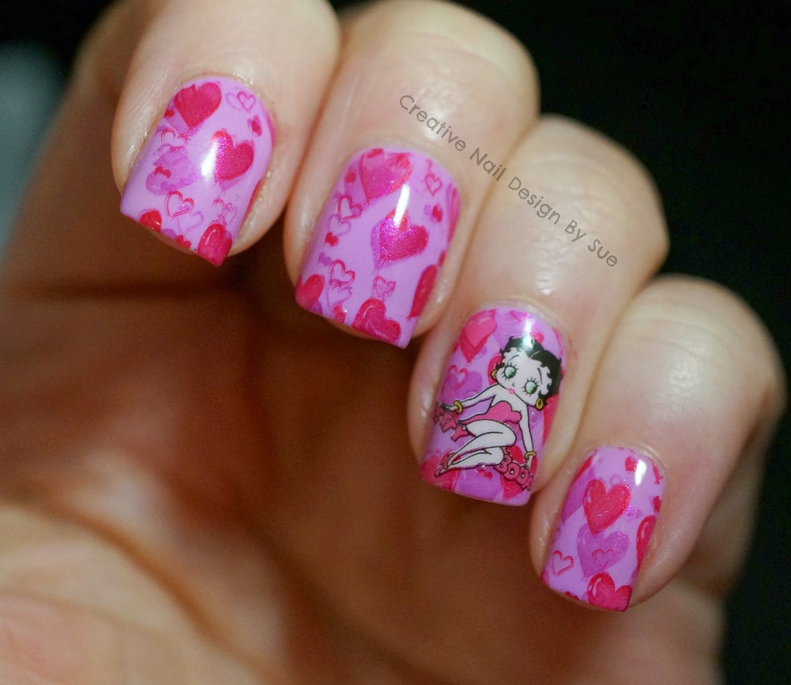 Creative Nail Design By Sue Quick Valentines Nails With Betty Boop