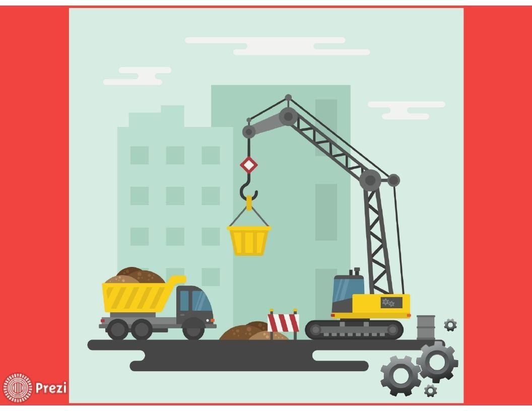 Joyful Free Prezi Template Showing A Truck And A Crane Working On