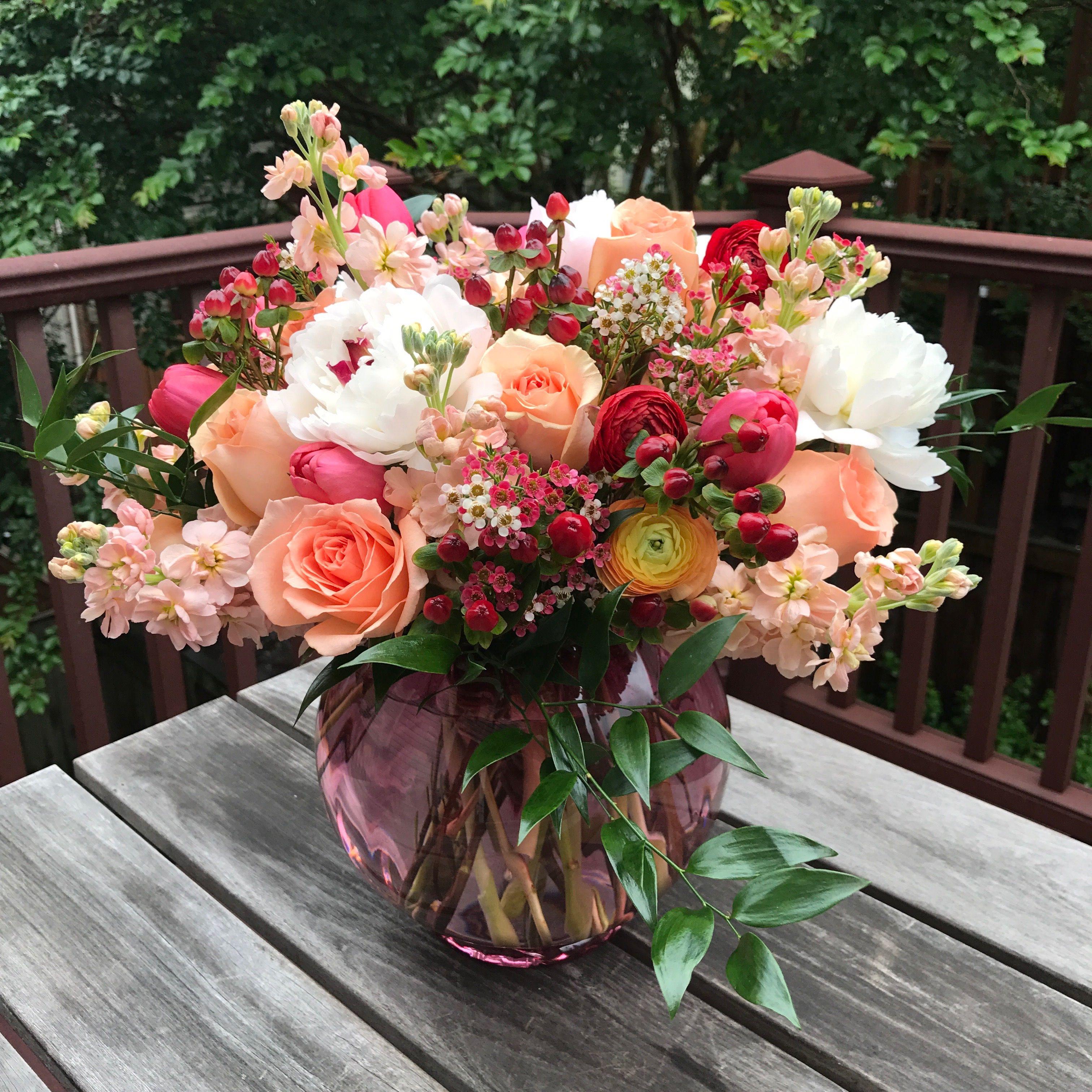 Wedding Anniversary Flower Bouquet With Peonies Roses Ranunculus Tulips Stock Hypericum Ber Flower Arrangements Fresh Flowers Arrangements Flowers Bouquet