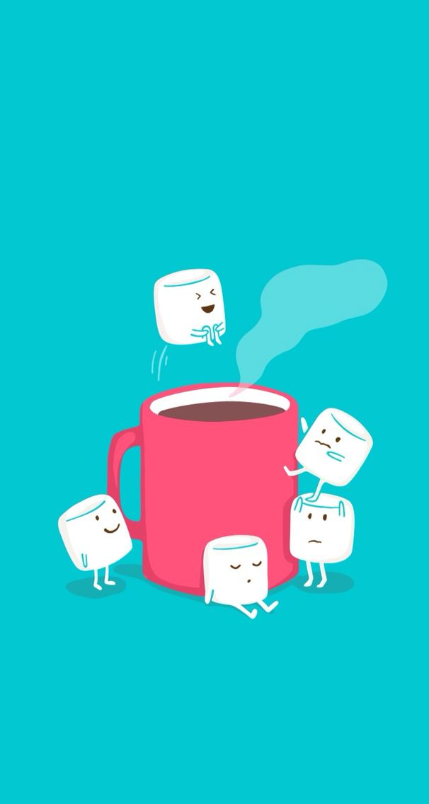 Hot Chocolate Marshmallows Iphone Wallpaper Cute Pazzi Disegni