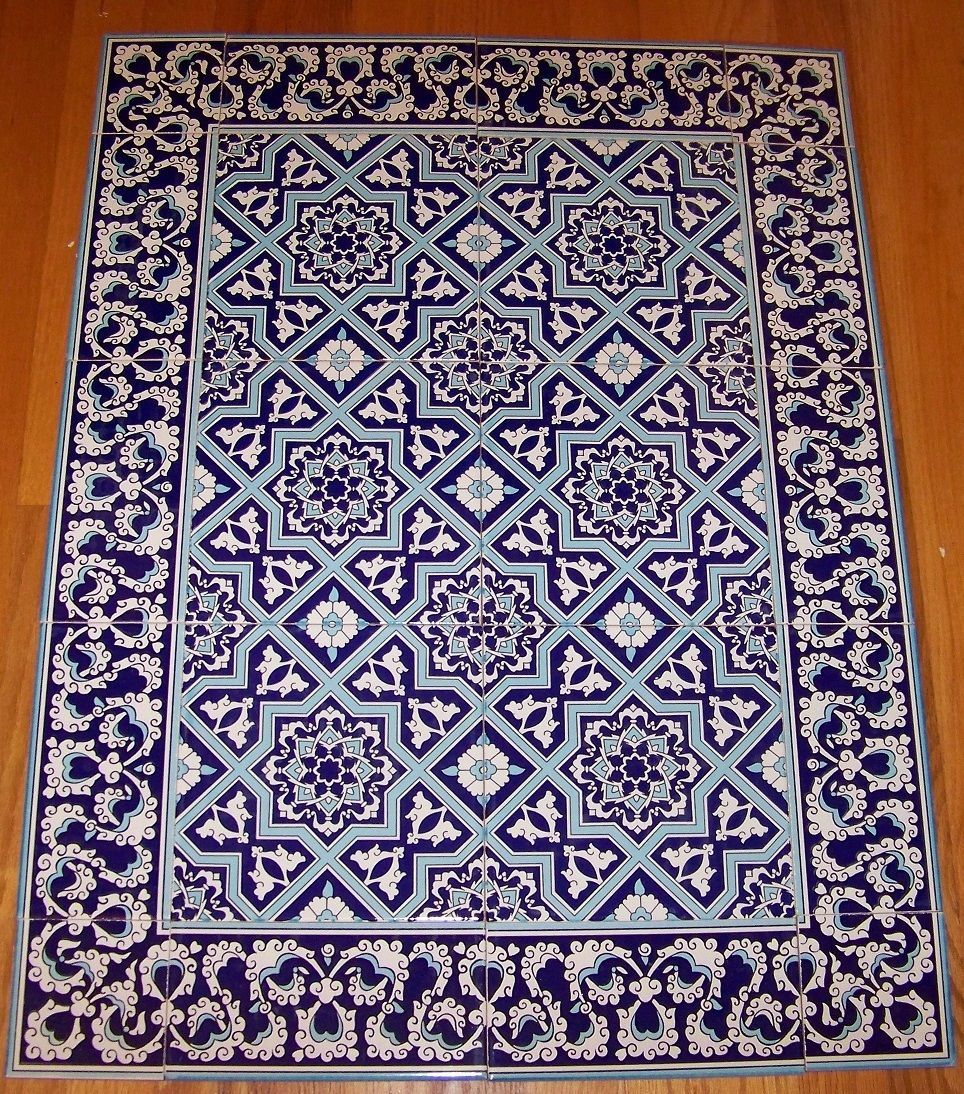 Blue white 32x24 turkish iznik floral pattern ceramic tile blue white 32x24 turkish iznik floral pattern ceramic tile mural panel doublecrazyfo Images
