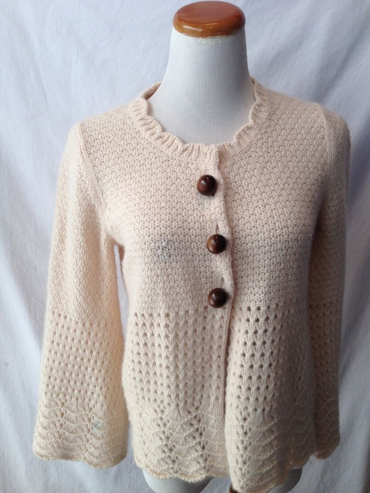 SPARROW Anthropologie ivory Wool CASHMERE angora Cardigan Sweater ...