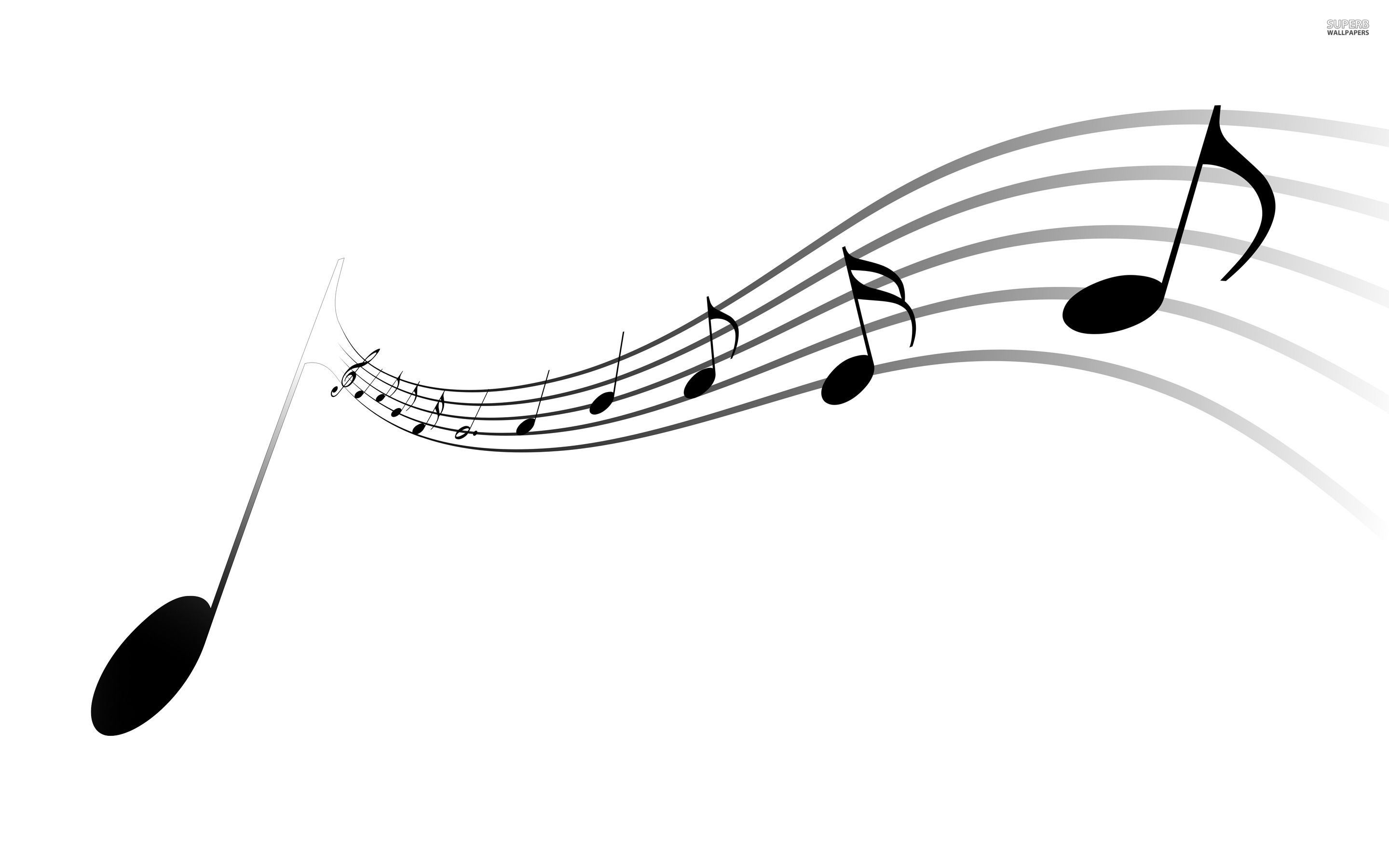 Black And White Musical Notes Wallpaper