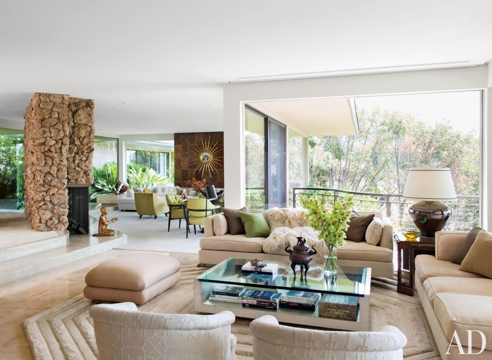silver glass living room furniture%0A Contemporary Living Room by Brad Dunning and Marmol Radziner   Associates  in Beverly Hills  California Even if I u    m not a big fan of glass tables