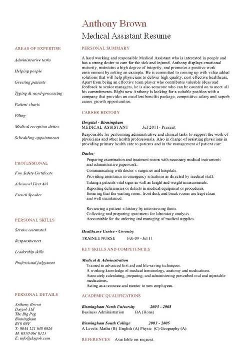 Resume Examples Medical Assistant Professional Resume Examples - medical assistant resume template free