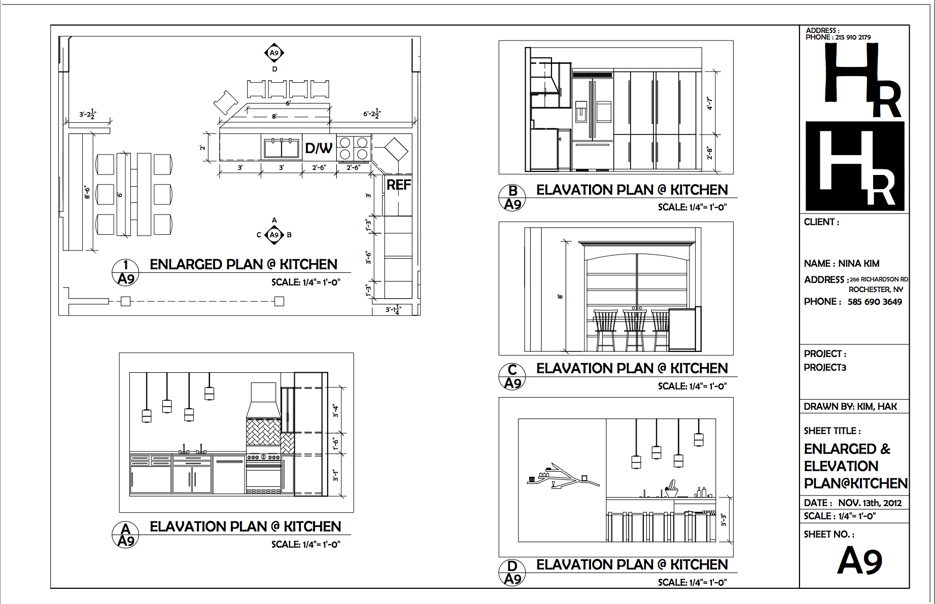Kitchen enlarged and elevation plan