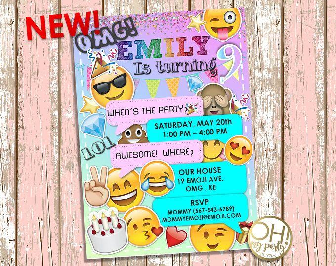 Invitación Del Cumpleaños De Emoji Emoji Invitación
