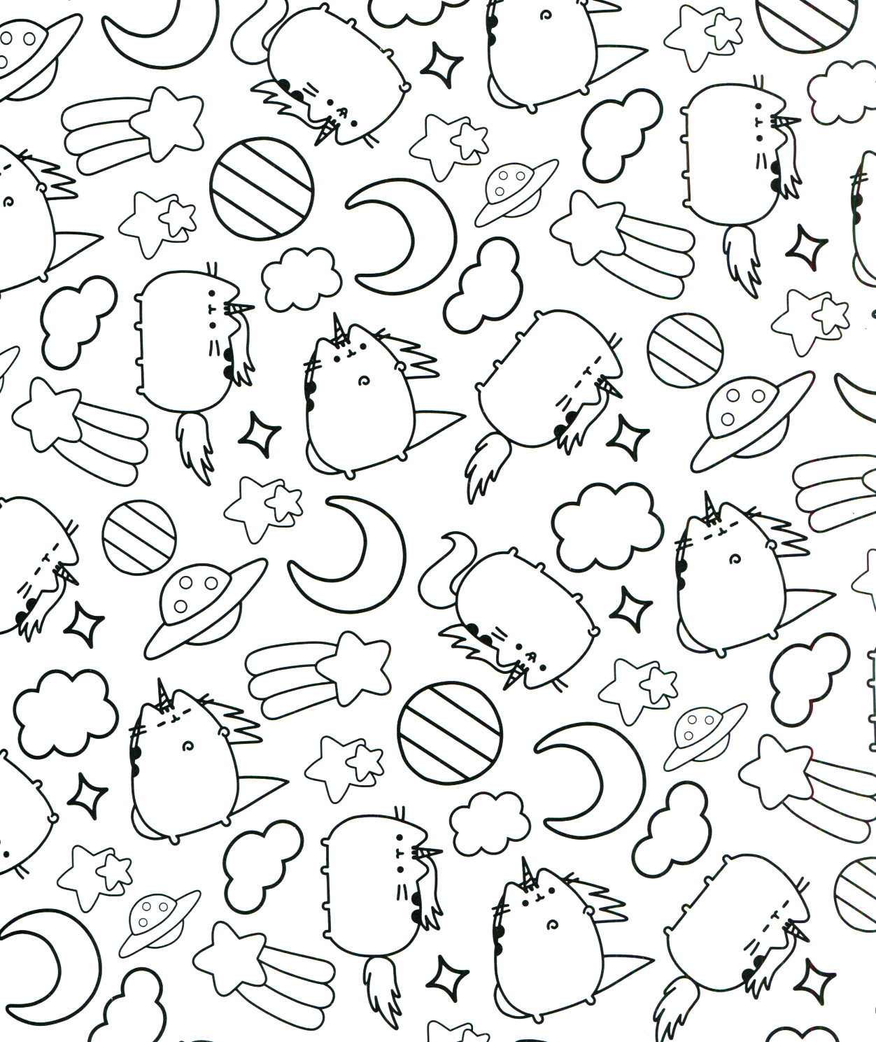 This is a graphic of Soft Pusheen Halloween Coloring Pages