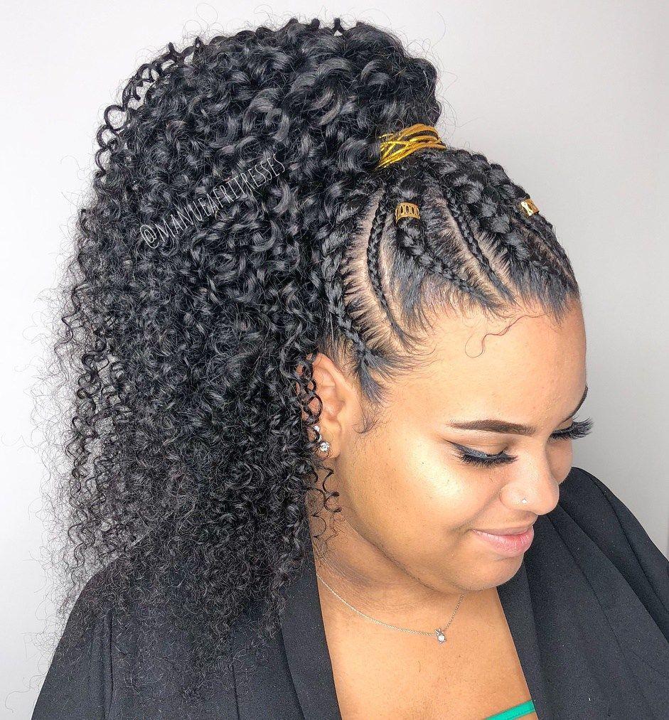Cornrows To Curly Ponytail Weavehairstylesshort Cornrow Ponytail Natural Hair Styles Braided Hairstyles