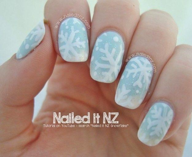 Frozen Subtle Snowflake Nails For 2017 Christmas Glitter Snowflakes Design Disney Nail Art
