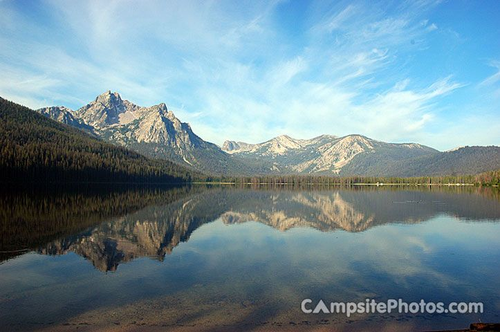 There are 19 campsites on Stanley Lake in Idaho. Fishing for rainbow and lake trout
