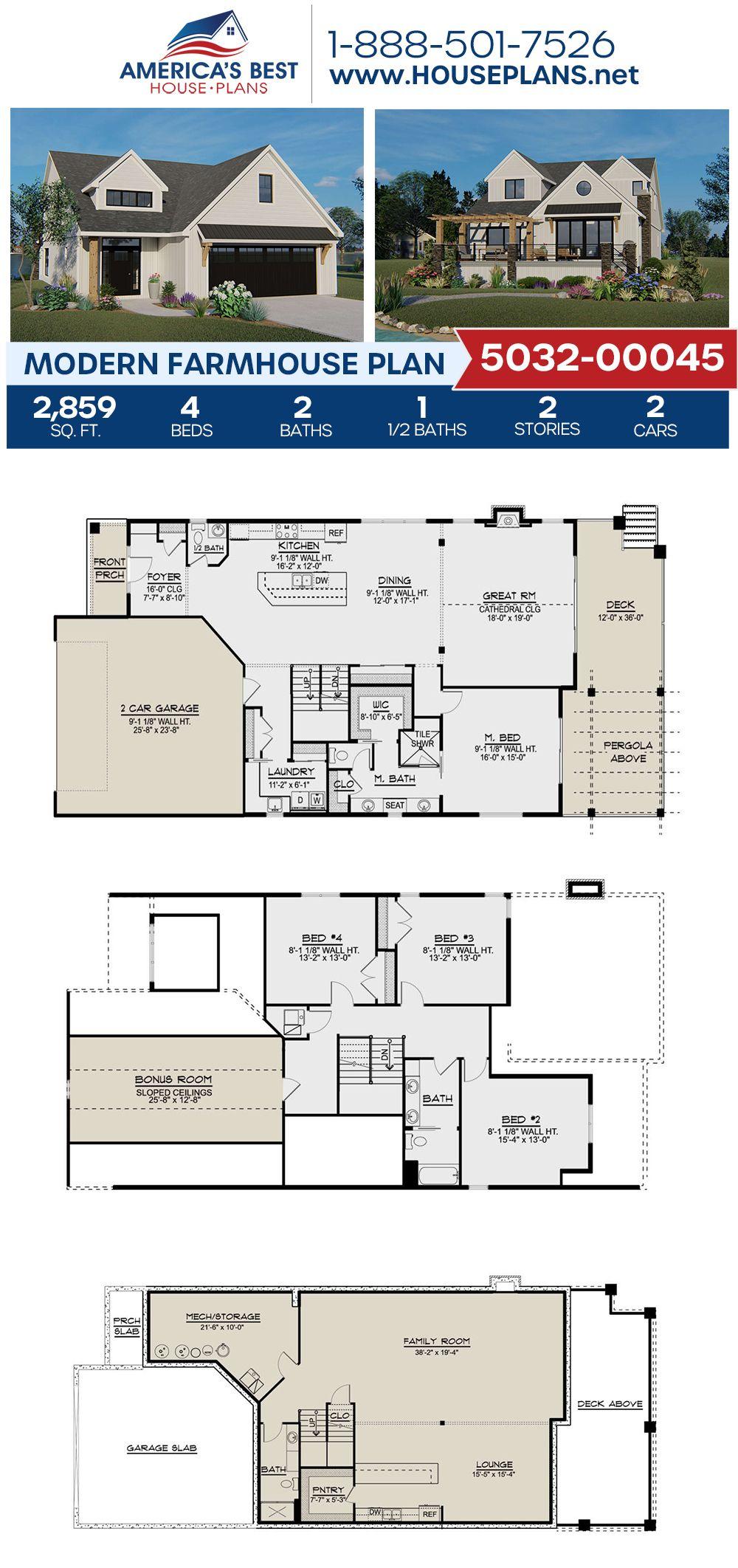 House Plan 5032 00045 Modern Farmhouse Plan 2 859 Square Feet 4 Bedrooms 2 5 Bathrooms Modern Farmhouse Plans Farmhouse Plans House Plans Farmhouse